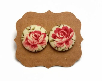 Rose Print Earrings • Floral Button Earrings • Covered Button • Button Earrings • Fabric Buttons • Spring Earrings • Christmas Gifts •
