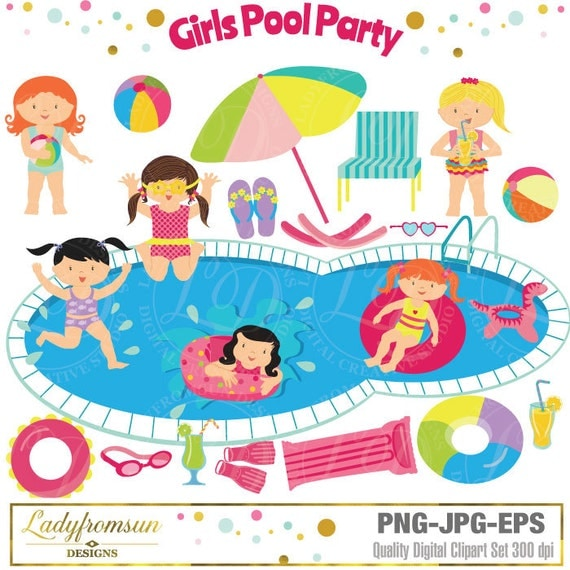 Girls Pool Party Clipart Pool Party Clip Art Summer Party