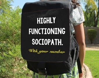 "SHERLOCK  ""Functioning Sociopath"" With your Number Canvas Backpack Bag"