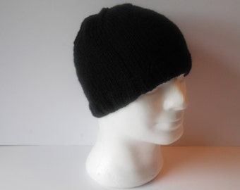 Men's knit hat. Black beanie hat. Hand knit beanie hat. Guy's beanie hat. Knitted toque hat.  Ready to ship. watchmans cap