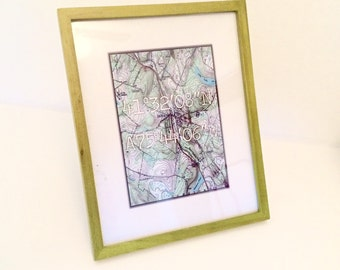 Vintage Map with Coordinates Print - Any location in US (Free Ship)