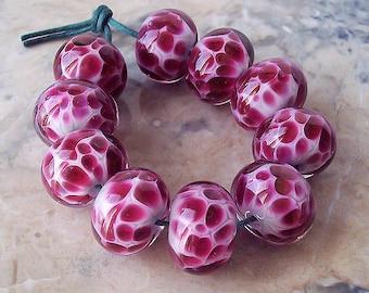 Handmade Lampwork Glass Beads (5 pcs) - Pale Grey, Fuchsia Pink Lampwork Rondelle Beads. Spotted Lampwork Beads. Pink Lampwork Bead Set.