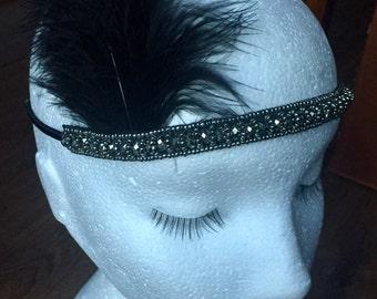 Feather Flapper Headband 1920s style Black bead Hairband fascinator headband