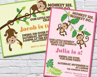Custom Monkey Themed Birthday Invitation
