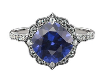2.25 ctw Blue Sapphire Engagement Ring with Diamonds 14K White Gold Flower Leaves Halo