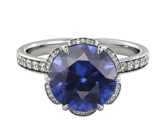2.00 ctw Blue Sapphire Engagement Ring with Diamonds 14K White Gold Flower Vintage Halo
