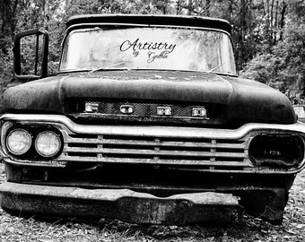 B&W, black and white, Car Photography, Vintage Car photography, Ford, Man cave, Rusty, Garage Art, Rusted Car, Rustic Wall Art