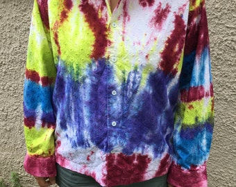 Size Large - Hand-dyed Tie-dye Shirt Women's Clothing
