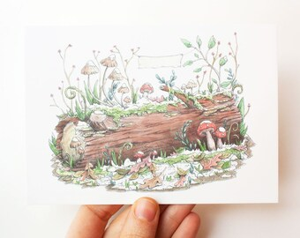 Postcard Fall-Winter log illustration - eco paper