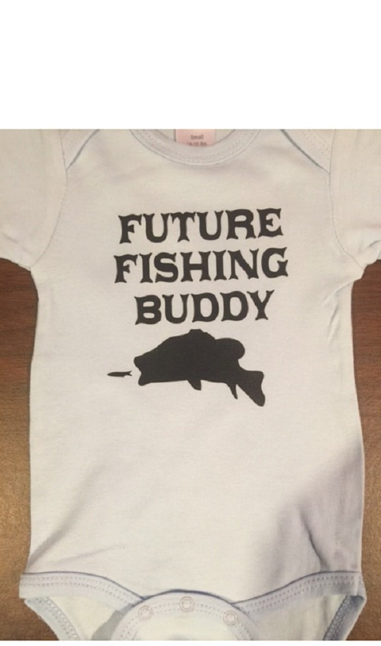 Future fishing buddy funny baby shower gift one by for Nd fishing buddy