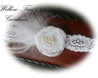 White Chiffon Flower Girl/Christening/Baptism Headband. Infant,Toddler, Girl, Adult Headband, Photo Prop