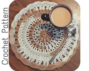 Place Mat Crochet PATTERN   Easy Crochet Pattern   Round Placemat Crochet Pattern   Crochet Pattern Kitchen Table Linen   PDF Download