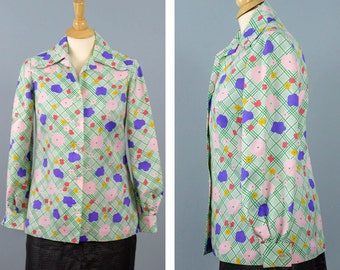 Vintage Handmade Button Up Blouse with Big Collar, Mod 60s Shirt, Pink and Purple Shirt, Floral Print, Cuffed Sleeve Shirt, Hipster Shirt