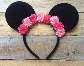 Mouse Ears Headband-Pinky girl flower headband-Halloween costume,party,vacation,summer,photo prop,ears,mouse,girls headband,adult headband