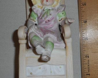 Antique Girl Chair Figurine Porcelain