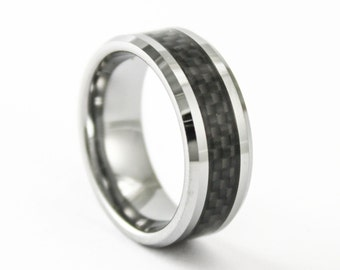 8MM Wide Tungsten and Black Carbon Fiber Band Mens Wedding Ring Personalized Free Inside Custom Engraving
