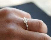 Rough Diamond Ring Simple Raw Diamond Ring Uncut Diamond Engagement Ring Unique Engagement Ring White Diamond Ring Sterling Silver Promise