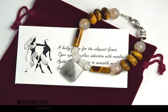 """GEMINI BRACELET - Grey Agate Pendant and Tiger Eye Beads - 7 1/4"""" - Fits Wrist of Up to 5.8"""""""