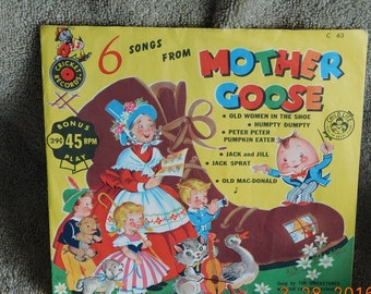 Cricket Record 6 Songs Mother Goose C-63 45 RPM
