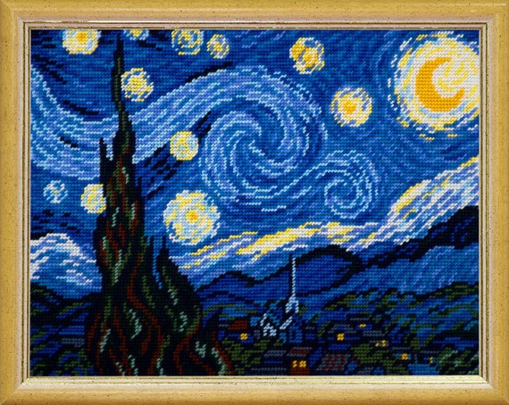 Starlit Night semi cross stitch on printed canvas DIY embroidery kit, embroidered painting set