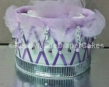 Princess 1 Tier Elegant Diaper Cakes , Purple Baby Girl Shower Decor  , Creative Pearls and Diamods Bling Table Centerpiece Baby Gift