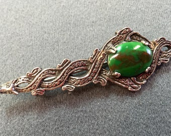 Scottish-style Celtic Brooch with Green Glass Cabochon Stone- Free shipping