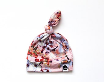 Soft Peach floral top knot beanie