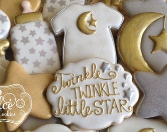 Twinkle Twinkle Little Star Baby Shower First Birthday Cookies