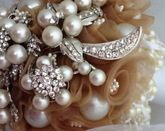Pearls, Rolled Gold Organza Flowers and Brooch Bridal Bouquet.