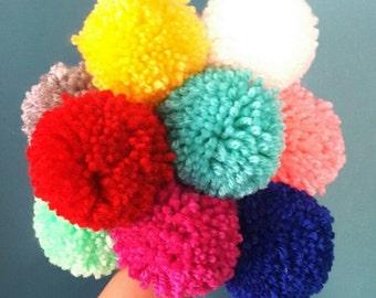 Hand Made Pom Poms Set of 9