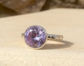 Lilac Amethyst Ring, Zirconia Silver Round Stone Ring,  Bezel Set Ring, Amethyst Gemstone Ring