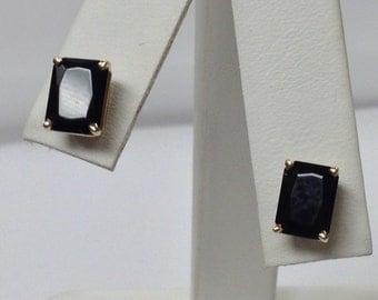 Black Onyx Stud Earrings Solid 14kt Yellow Gold