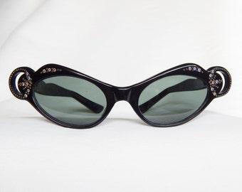 Vintage Rounded Cat's Eye Sunglasses - Black With Rhinestones - Blue-Green Grey Lenses - France