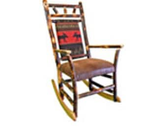 Rustic Hickory Upholstered Rocking Chair with Red Moose Fabric