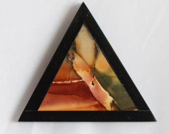 Picasso Jasper and Black Onyx Intarsia Gemstone Pendant - 45mm x 40mm
