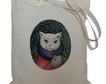 Tote bag/ drawstring bag/ cat and bird/ cotton bag/ cat/ material shopping bag/ shoe bag/ market bag
