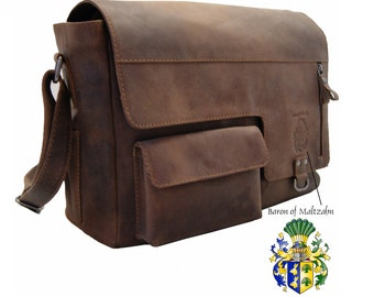 Shoulder bag - Messenger bag VOLTAIRE made of brown leather