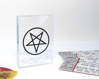 Motley Crue Pentagram Clear Printed Rock Music Acrylic Block