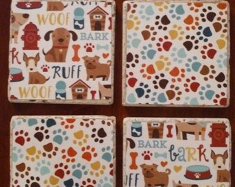 Dog Coaster Set - Tile Coasters - Set of 4
