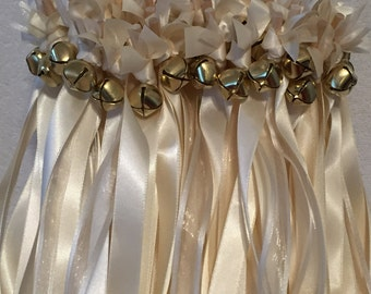 100 Wedding Wands/Wedding Ribbon Wands/Wedding Wand/Wedding Streamers/Ivory and ivory sheer with  gold bells