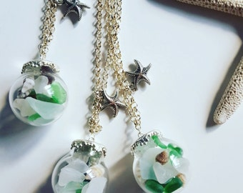 Beautiful Seaglass and shells globe necklace