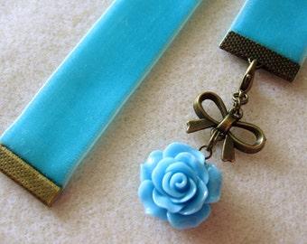 Aqua BlueVelvet Ribbon Bookmark w/Rose Cabochon