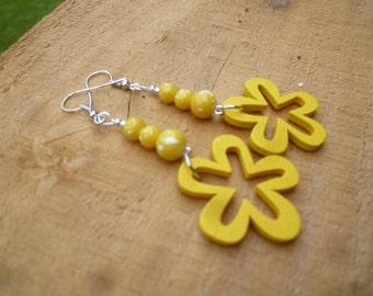 warm yellow flower earrings