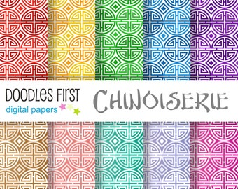 Chinoiserie Digital Paper Pack Includes 10 for Scrapbooking Paper Crafts