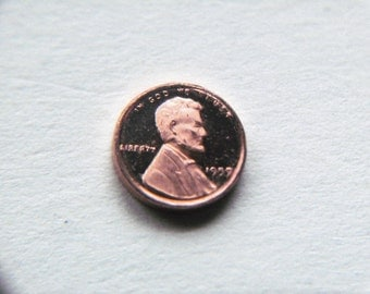 "Vintage 1980 Franklin Mint ""Coins of America"" in miniature 1959 Penny 6mm copper"