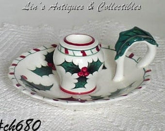Vintage Lefton Holly Chamber Stick Style Candleholder (Inventory #CH680)