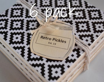 Ceramic Tile Coasters - Black & White Aztec 048 6 pack