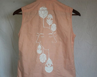 "Thrifted Ralph Lauren Brand Collared Button-Up Tank // Original ""growthVprogress"" Screen Print Design on Back in White Ink //"