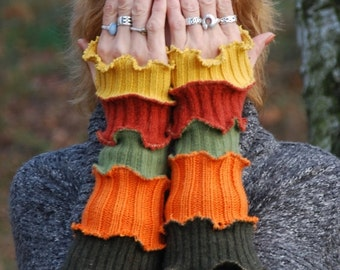 SALE Recycled wool fabric mittens Fingerless gloves Arm warmers Armwarmers Arm Cuffs OOAK Autumn hand warmers Woodland Long Arm Warmers