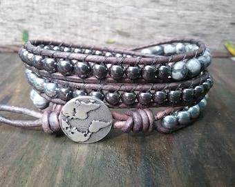 Hematite Bracelet - Grey Jasper Bracelet - Silver Hematite - Custom Bracelet - Beaded Bracelets for Women - Beaded Bracelet for Men